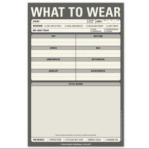 NWT! Knock Knock - What To Wear Notepad